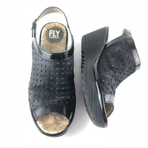 Fly London Yuti Sandals Perforated Wedge Platform